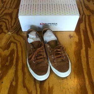 Superga brown suede leather sneakers